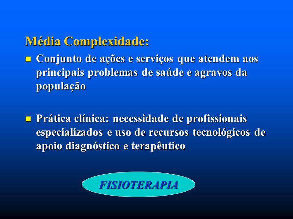 Média Complexidade: Conjunto de ações e serviços que atendem aos principais problemas de saúde e agravos da população.