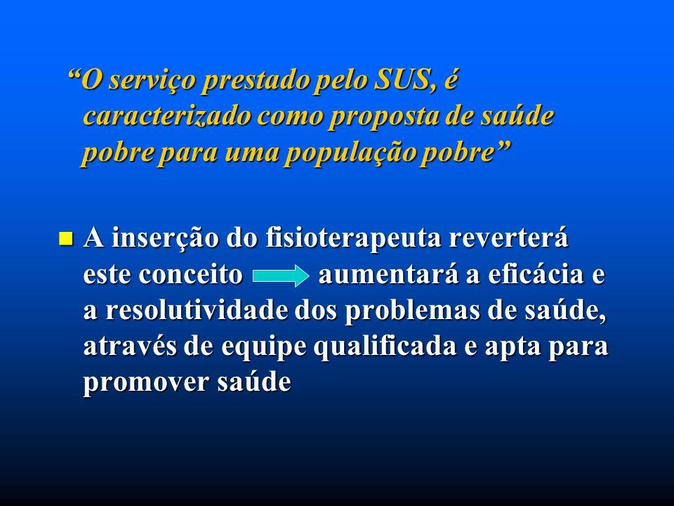 O serviço prestado pelo SUS, é caracterizado como proposta de saúde pobre para uma população pobre