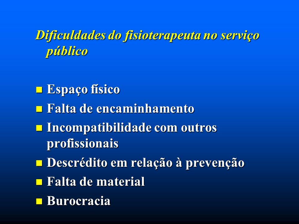 Dificuldades do fisioterapeuta no serviço público