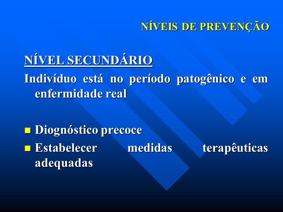 Indivíduo está no período patogênico e em enfermidade real
