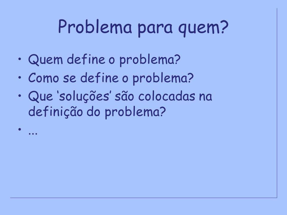 Problema para quem Quem define o problema Como se define o problema