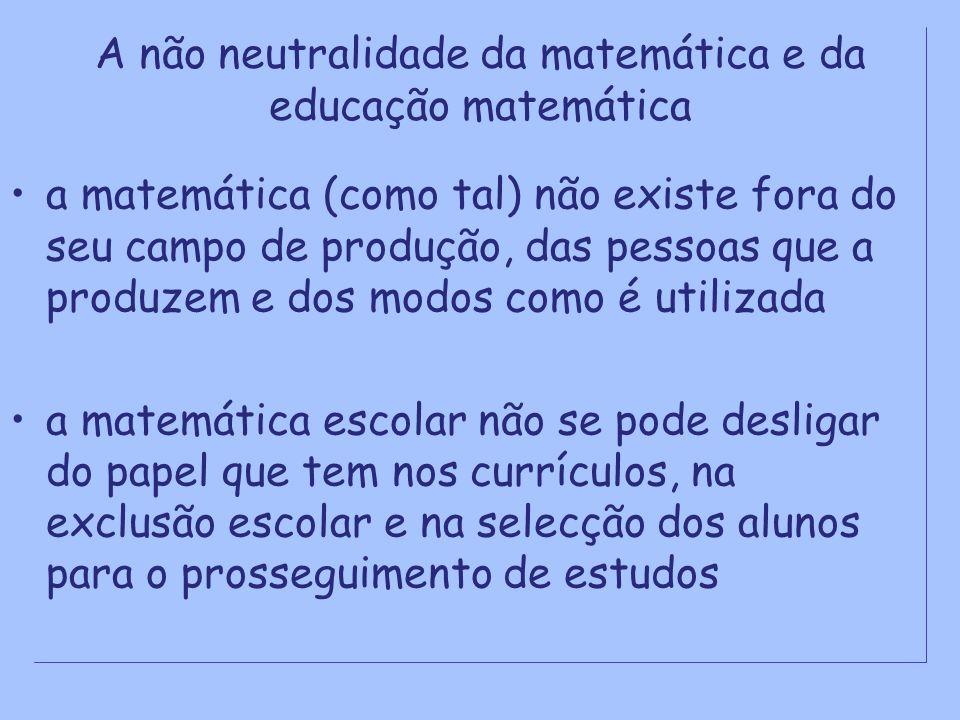 A não neutralidade da matemática e da educação matemática