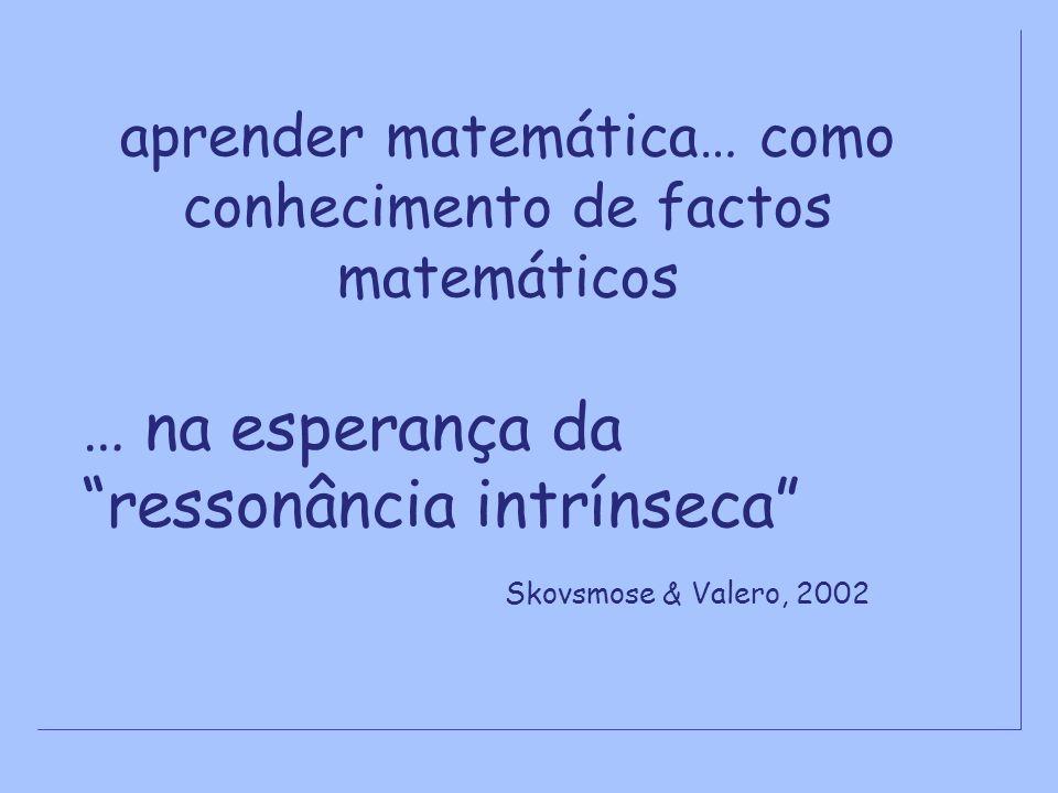 aprender matemática… como conhecimento de factos matemáticos
