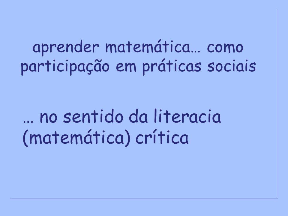 aprender matemática… como participação em práticas sociais