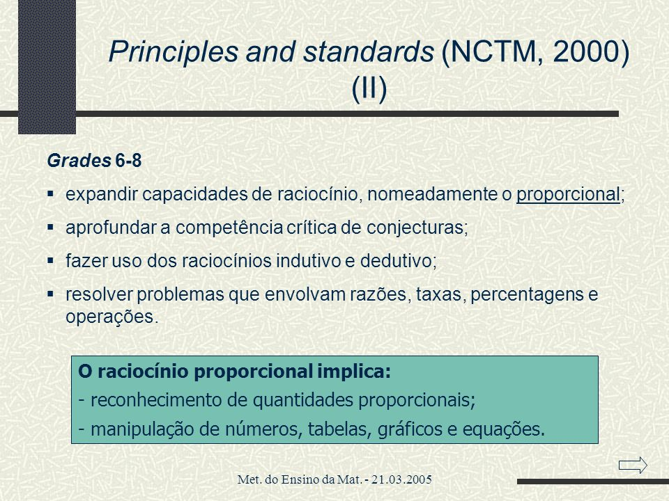 Principles and standards (NCTM, 2000) (II)
