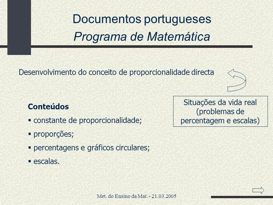 Documentos portugueses Programa de Matemática