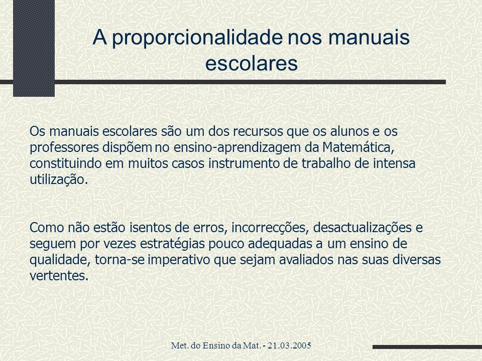 A proporcionalidade nos manuais escolares