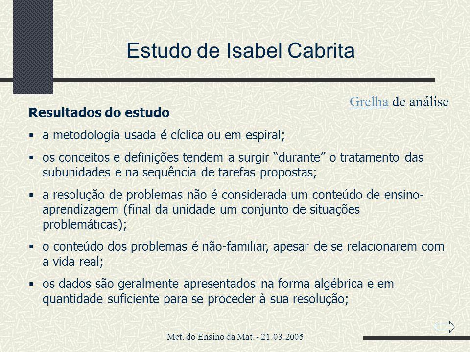Estudo de Isabel Cabrita