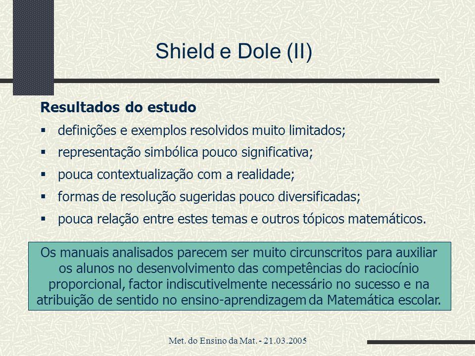 Shield e Dole (II) Resultados do estudo