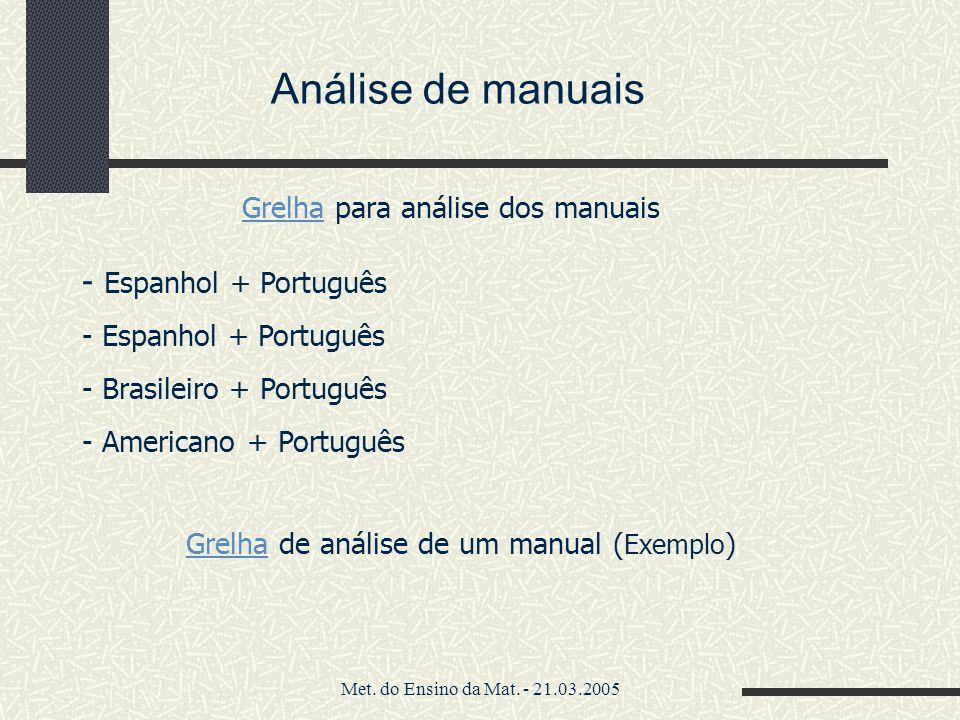 Análise de manuais Espanhol + Português
