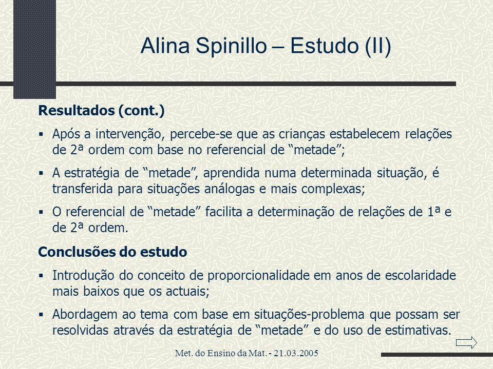 Alina Spinillo – Estudo (II)