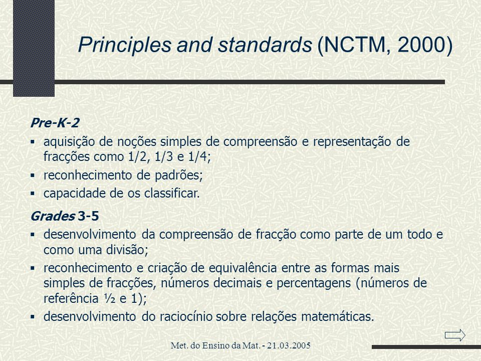 Principles and standards (NCTM, 2000)