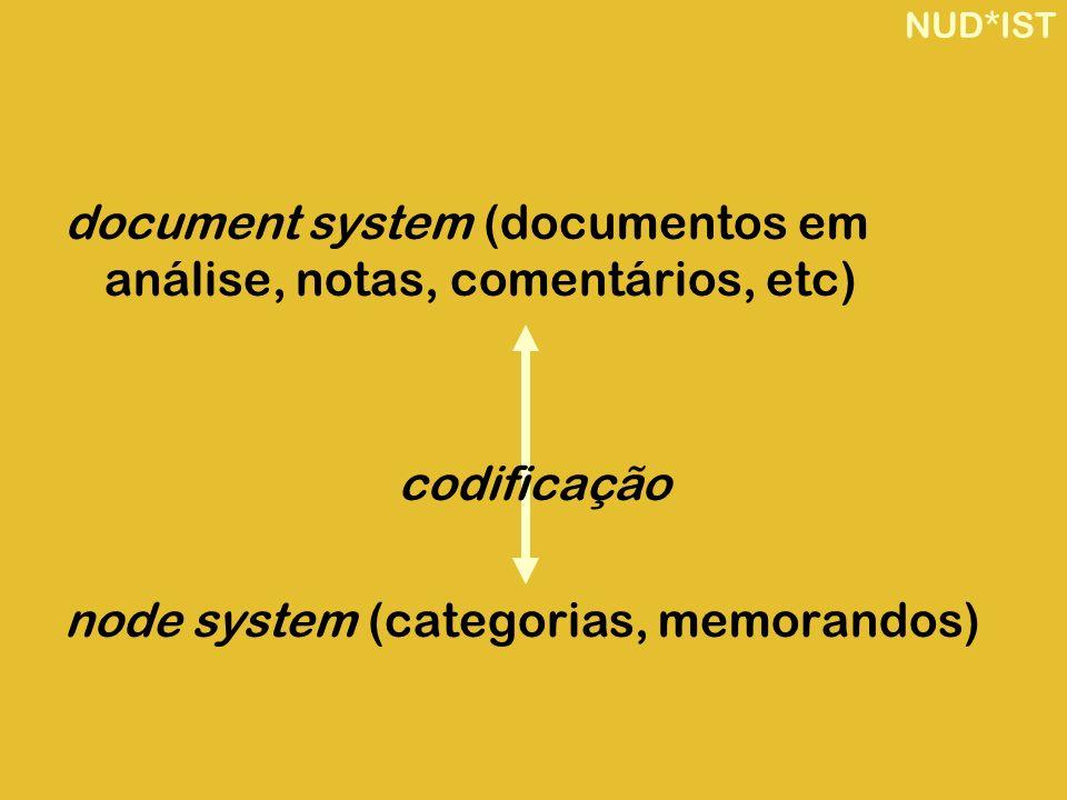 document system (documentos em análise, notas, comentários, etc)