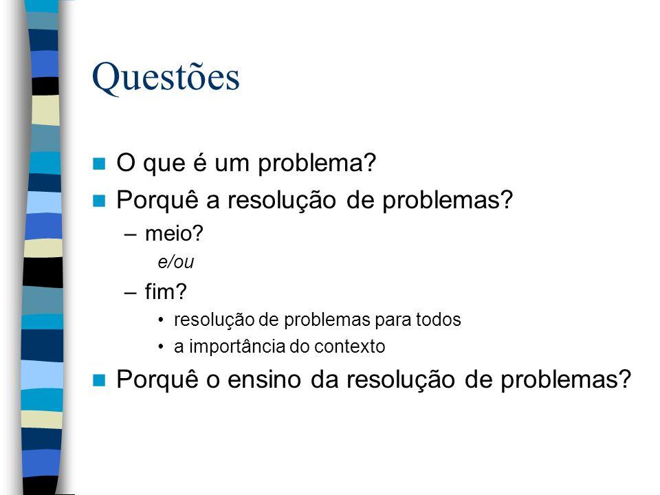 Questões O que é um problema Porquê a resolução de problemas