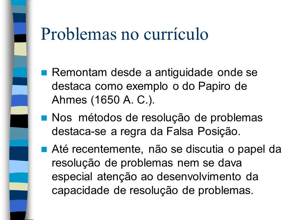 Problemas no currículo