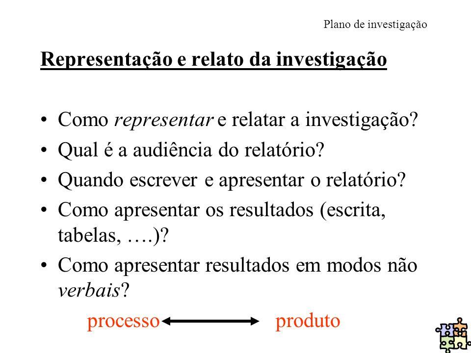 Representação e relato da investigação