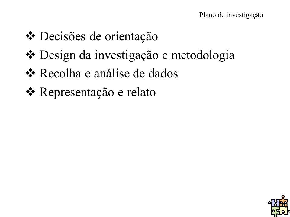 Decisões de orientação Design da investigação e metodologia