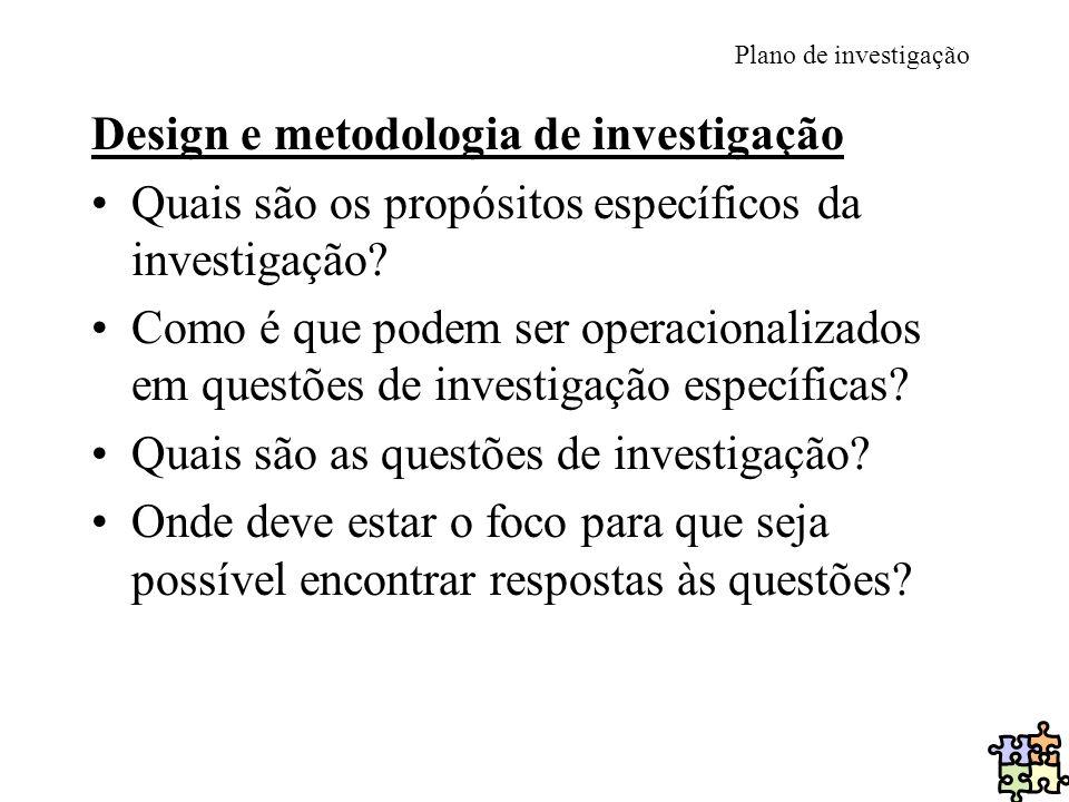 Design e metodologia de investigação