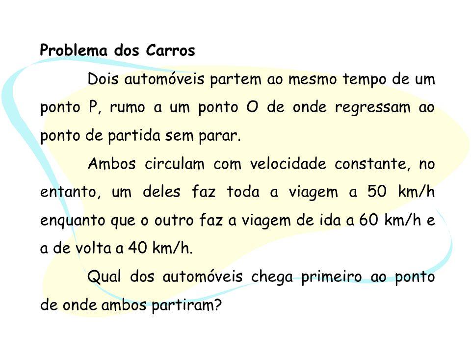 Problema dos Carros Dois automóveis partem ao mesmo tempo de um ponto P, rumo a um ponto O de onde regressam ao ponto de partida sem parar.