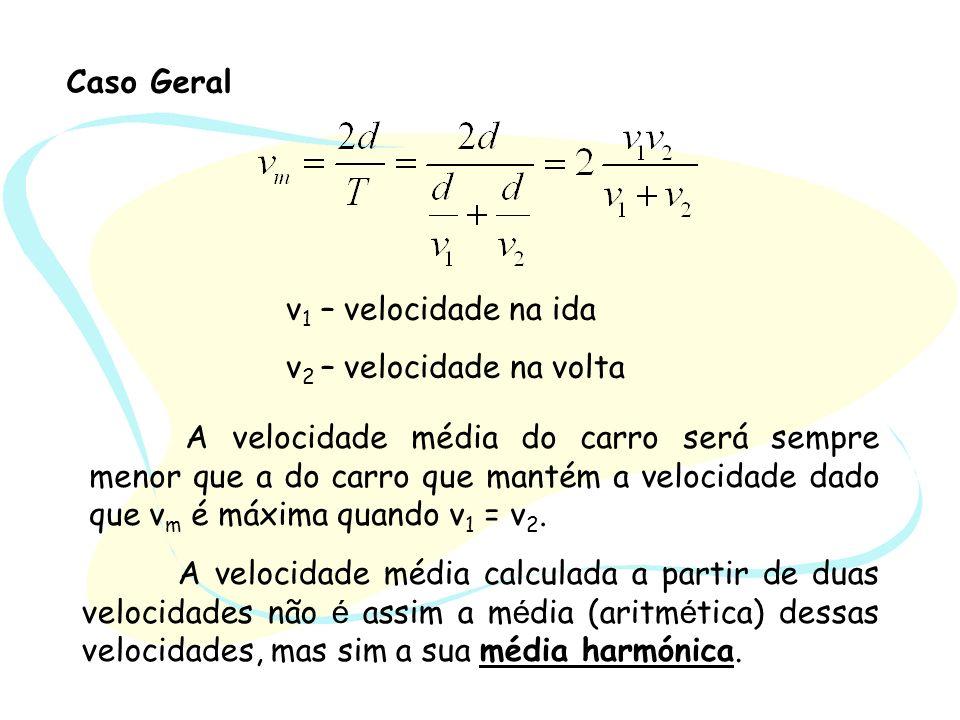 Caso Geral v1 – velocidade na ida. v2 – velocidade na volta.