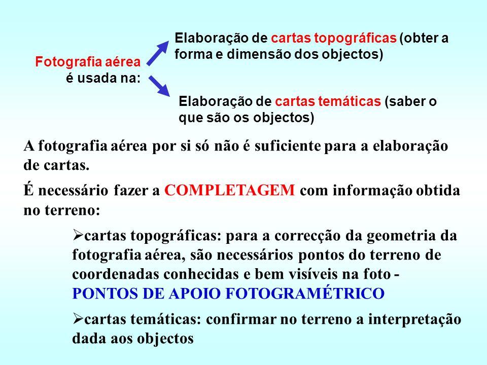 É necessário fazer a COMPLETAGEM com informação obtida no terreno: