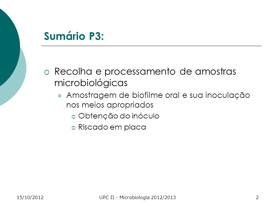 UPC II - Microbiologia 2012/2013