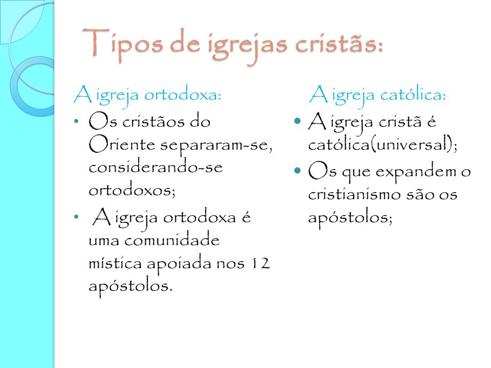 Tipos de igrejas cristãs: