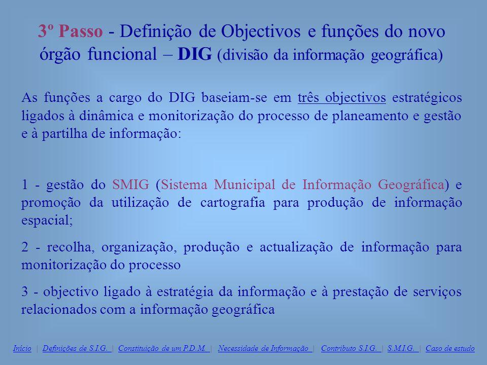 3º Passo - Definição de Objectivos e funções do novo órgão funcional – DIG (divisão da informação geográfica)