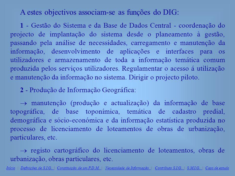 A estes objectivos associam-se as funções do DIG: