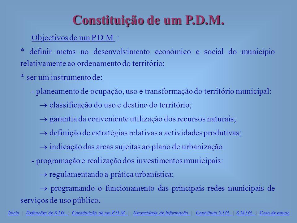 Constituição de um P.D.M. Objectivos de um P.D.M. :