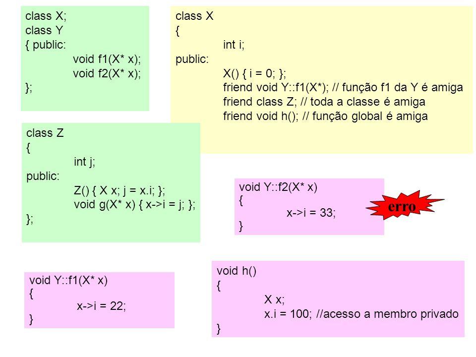 erro class X; class Y { public: void f1(X* x); void f2(X* x); };
