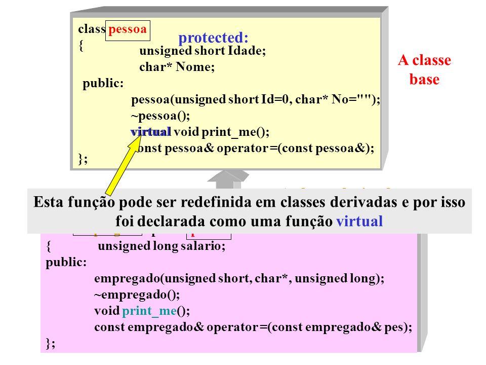 Este é Herança protected: A classe base A classe derivada
