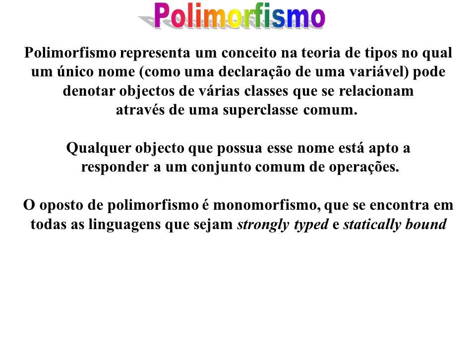 Polimorfismo Polimorfismo representa um conceito na teoria de tipos no qual. um único nome (como uma declaração de uma variável) pode.