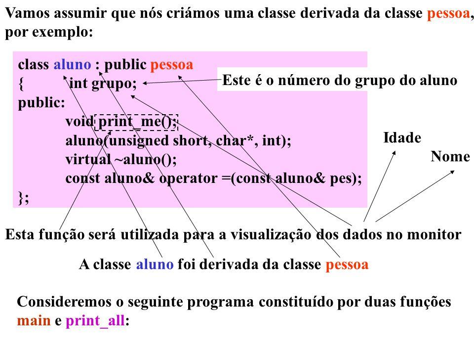 Vamos assumir que nós criámos uma classe derivada da classe pessoa,