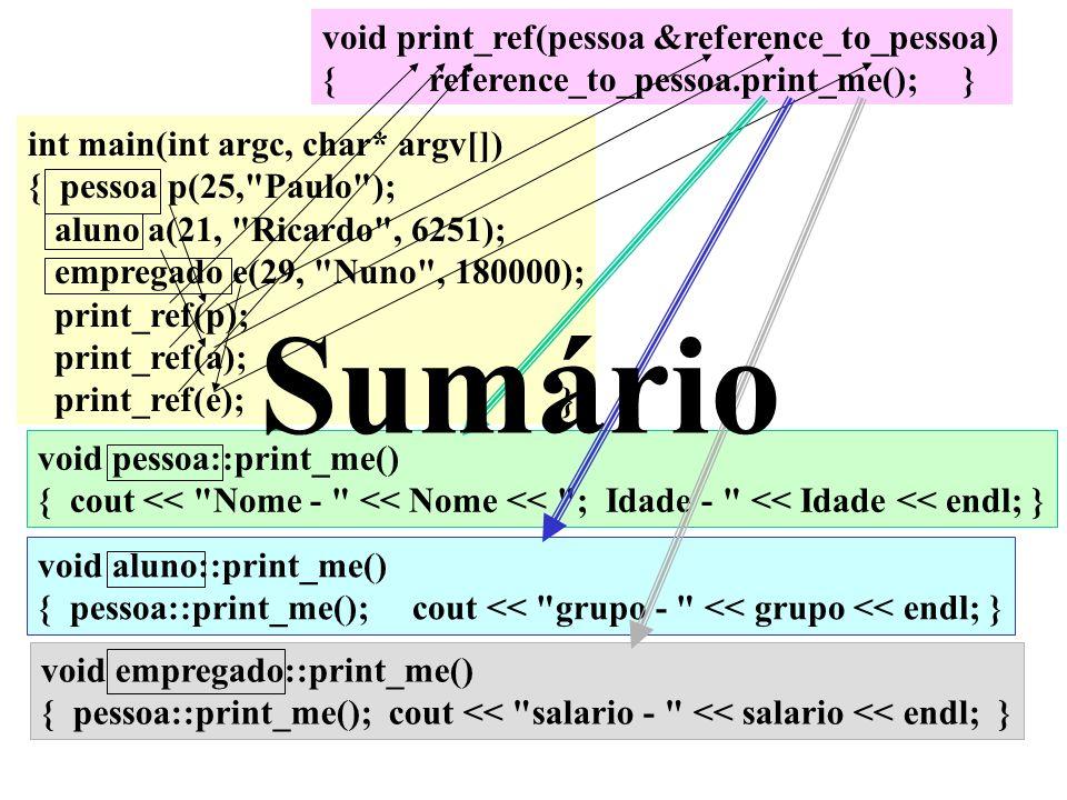Sumário void print_ref(pessoa &reference_to_pessoa)