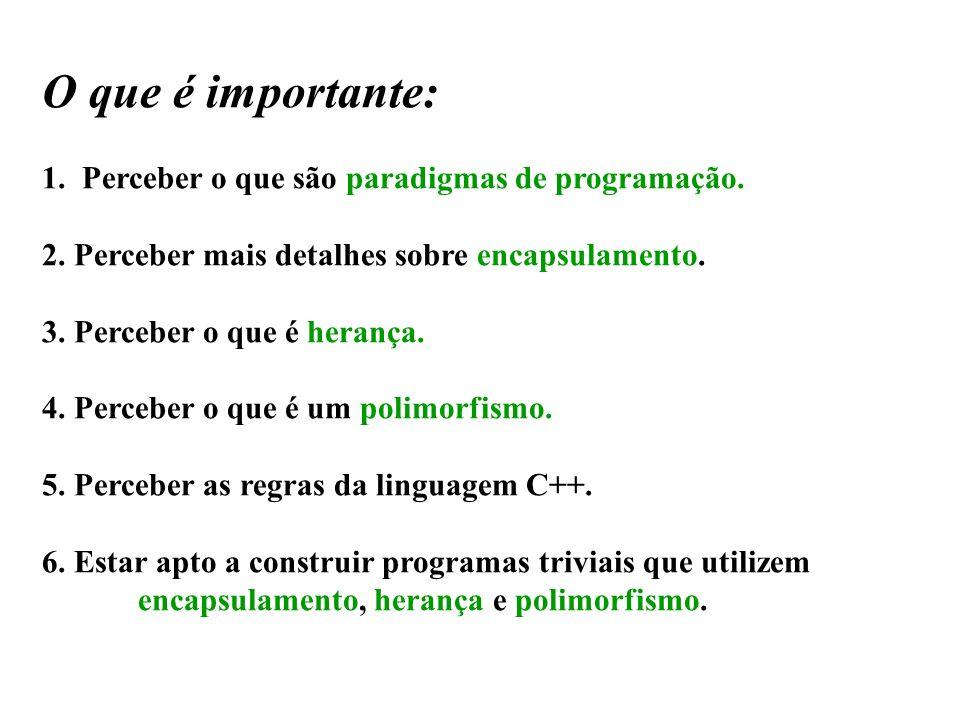 O que é importante: 1. Perceber o que são paradigmas de programação.