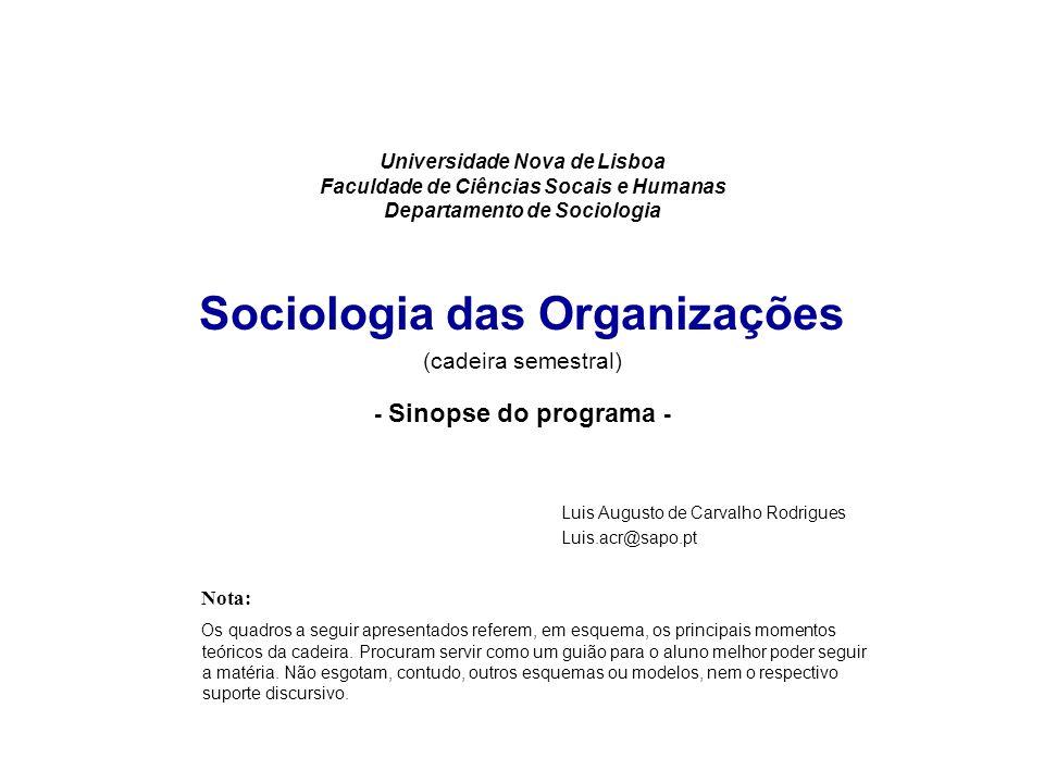 Universidade Nova de Lisboa Faculdade de Ciências Socais e Humanas Departamento de Sociologia Sociologia das Organizações (cadeira semestral) - Sinopse do programa -