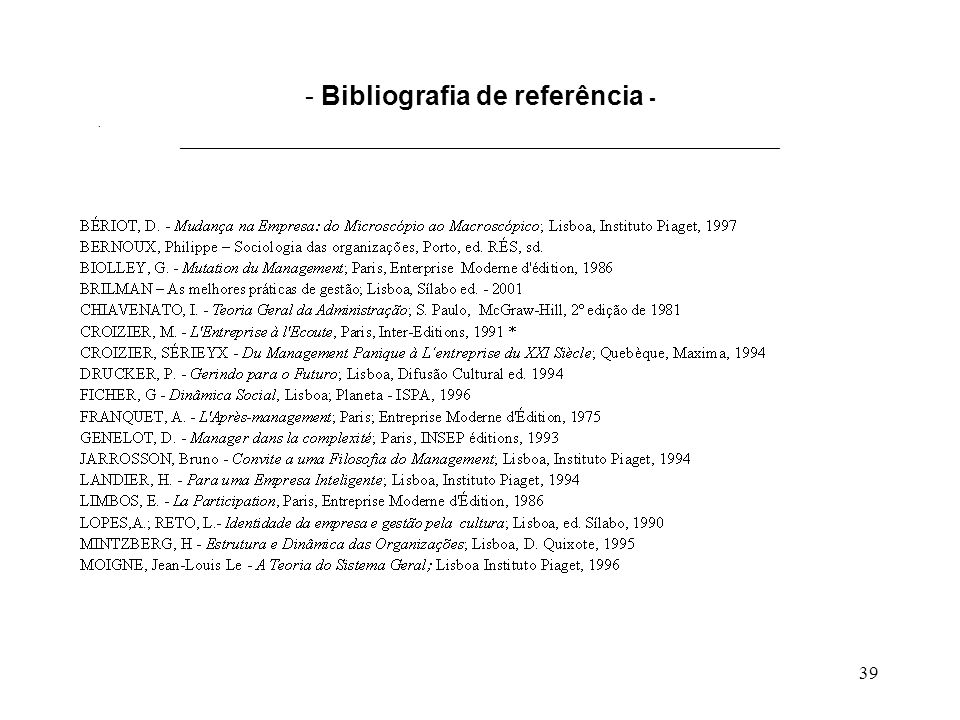 Bibliografia de referência - ___________________________________________________________________________