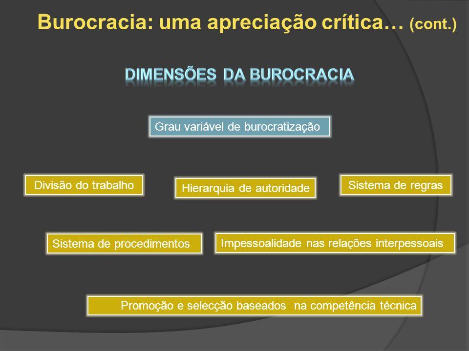 Burocracia: uma apreciação crítica… (cont.) Dimensões da burocracia