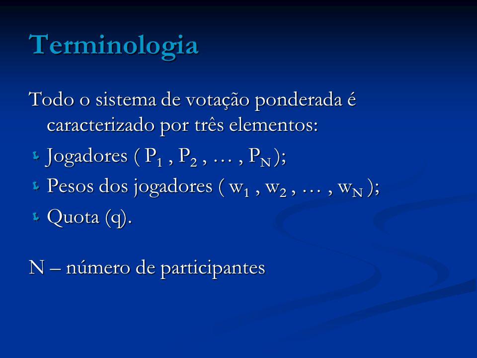 Terminologia Todo o sistema de votação ponderada é caracterizado por três elementos: Jogadores ( P1 , P2 , … , PN );