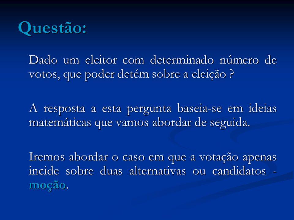 Questão: Dado um eleitor com determinado número de votos, que poder detém sobre a eleição
