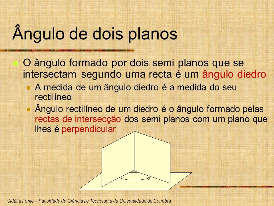 Ângulo de dois planos O ângulo formado por dois semi planos que se intersectam segundo uma recta é um ângulo diedro.