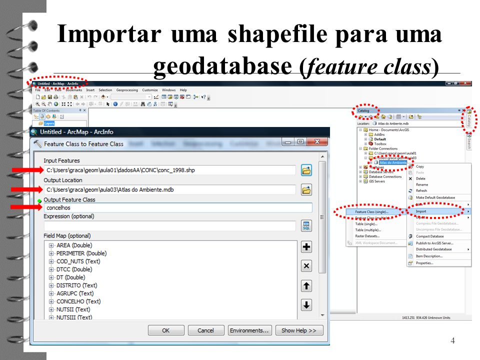 Importar uma shapefile para uma geodatabase (feature class)