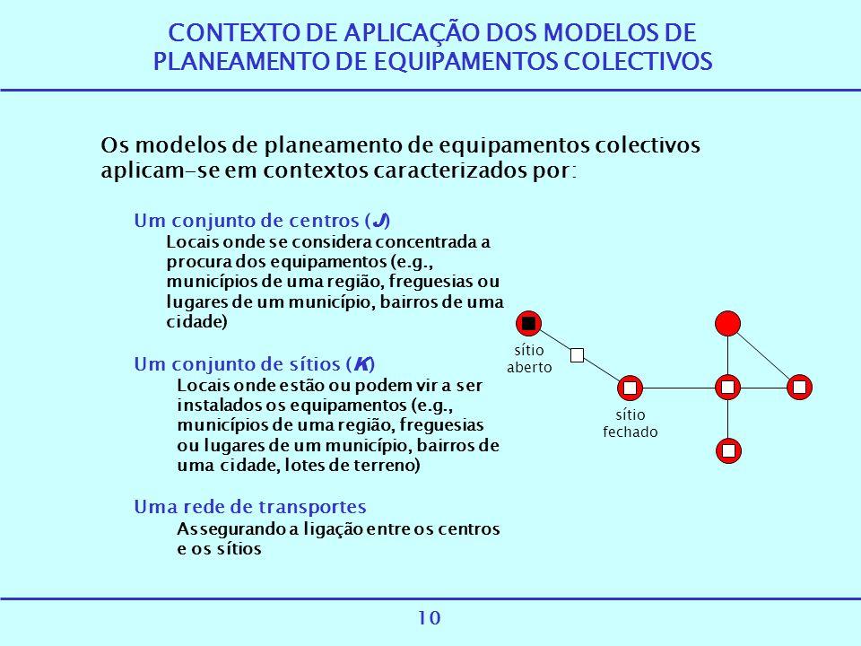 CONTEXTO DE APLICAÇÃO DOS MODELOS DE PLANEAMENTO DE EQUIPAMENTOS COLECTIVOS