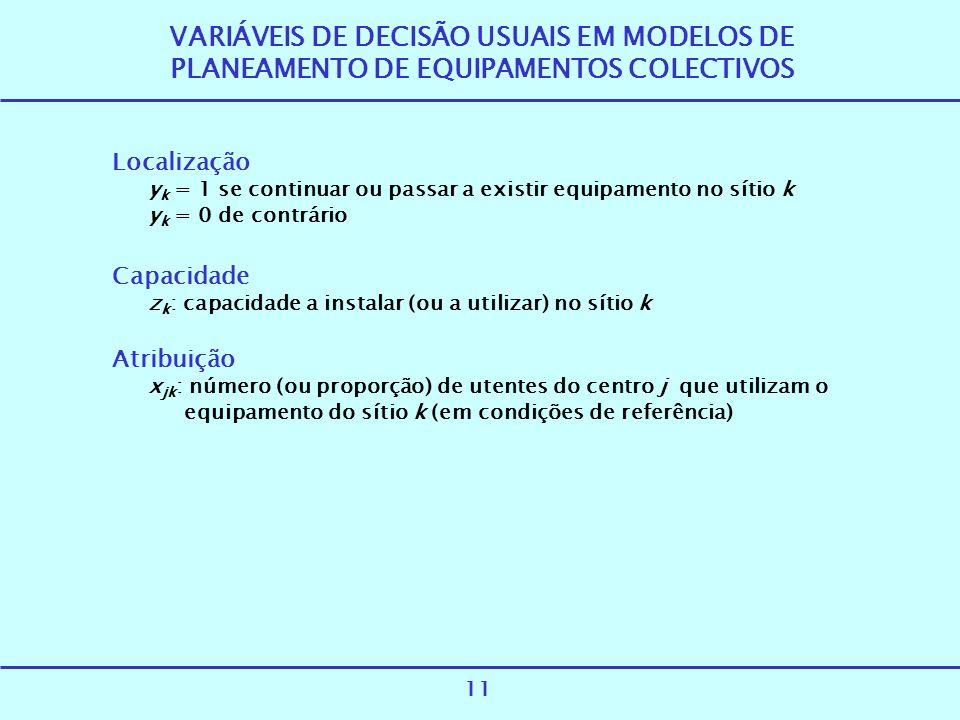 VARIÁVEIS DE DECISÃO USUAIS EM MODELOS DE PLANEAMENTO DE EQUIPAMENTOS COLECTIVOS