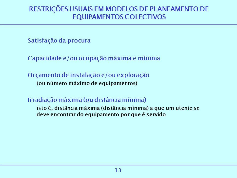 RESTRIÇÕES USUAIS EM MODELOS DE PLANEAMENTO DE EQUIPAMENTOS COLECTIVOS