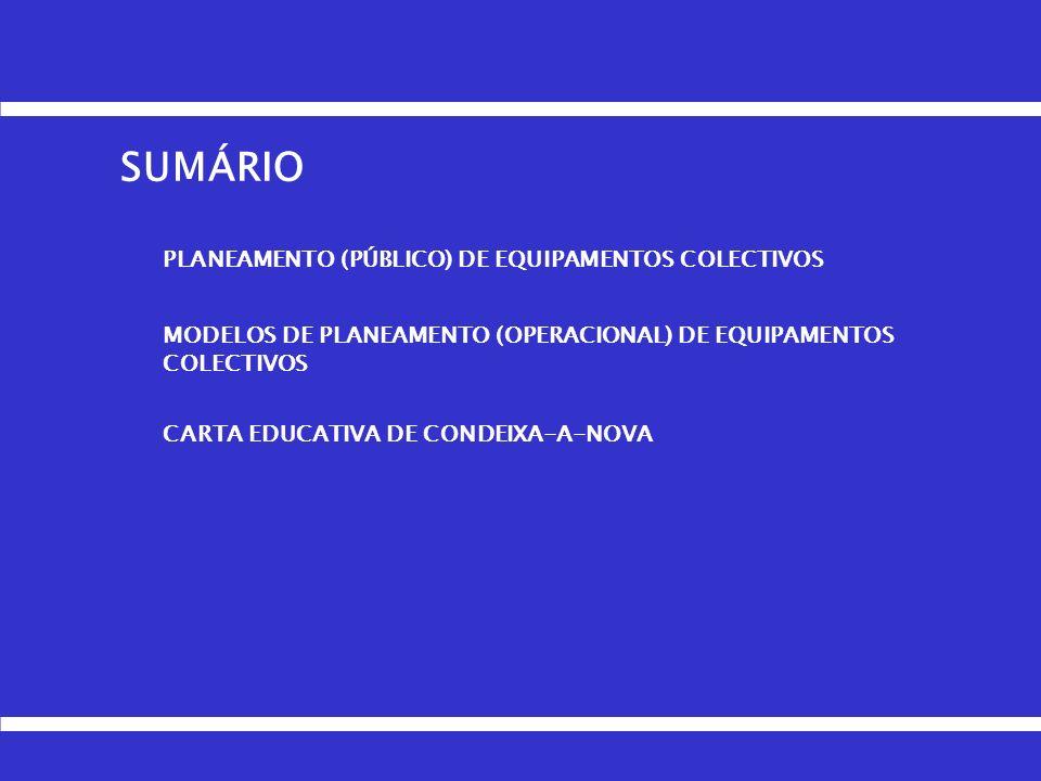SUMÁRIO PLANEAMENTO (PÚBLICO) DE EQUIPAMENTOS COLECTIVOS
