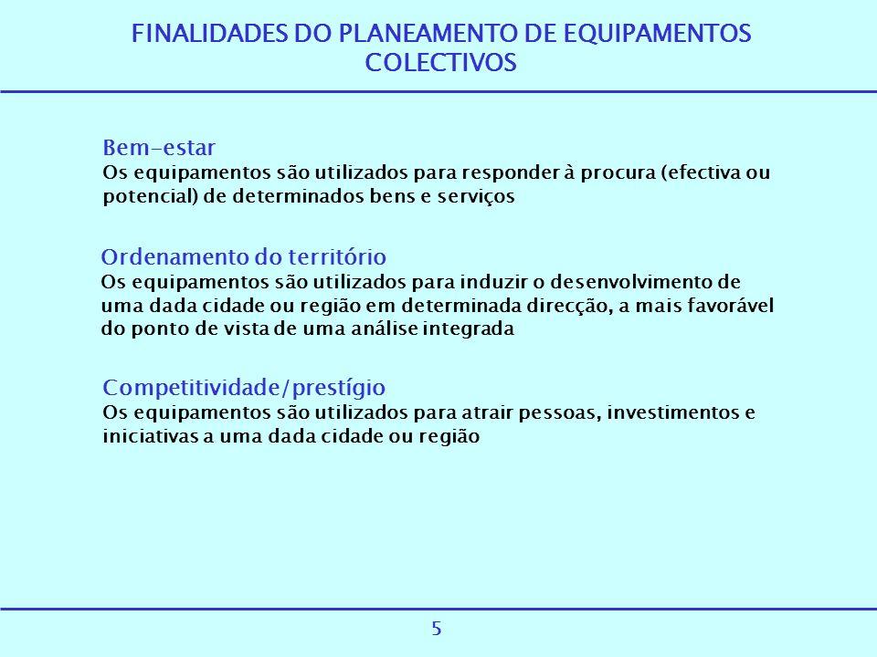 FINALIDADES DO PLANEAMENTO DE EQUIPAMENTOS COLECTIVOS