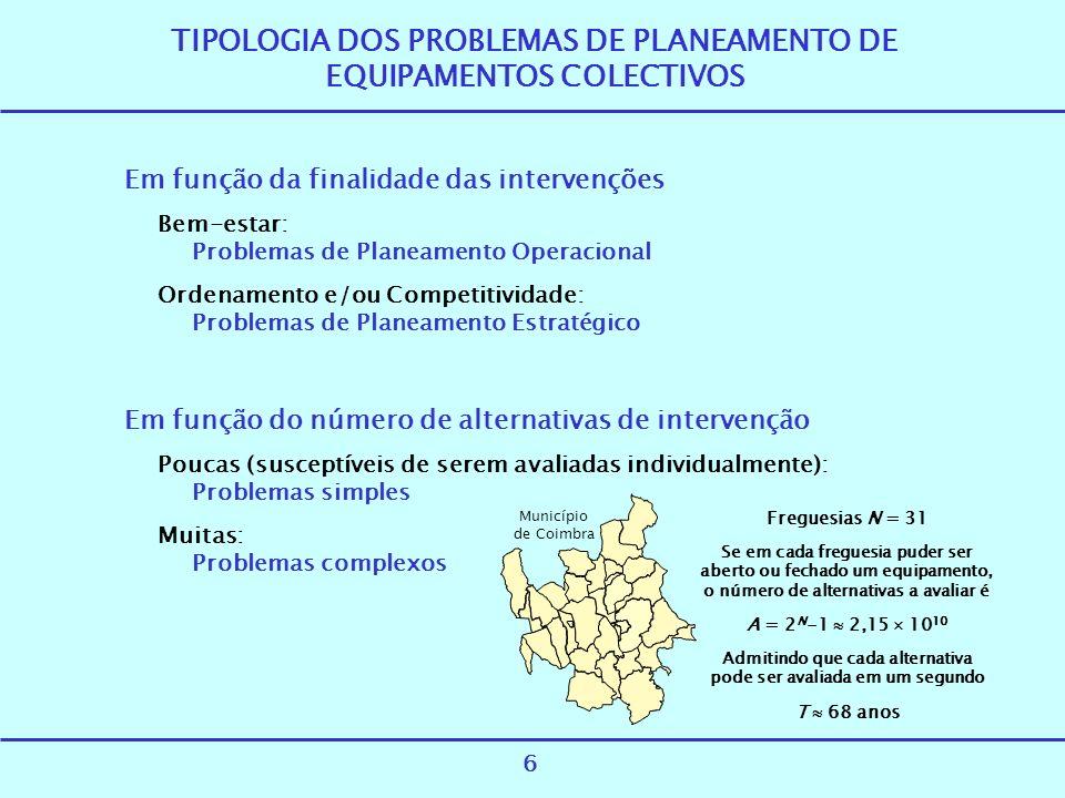 TIPOLOGIA DOS PROBLEMAS DE PLANEAMENTO DE EQUIPAMENTOS COLECTIVOS