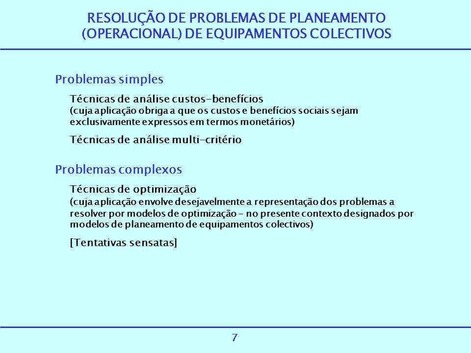 RESOLUÇÃO DE PROBLEMAS DE PLANEAMENTO (OPERACIONAL) DE EQUIPAMENTOS COLECTIVOS